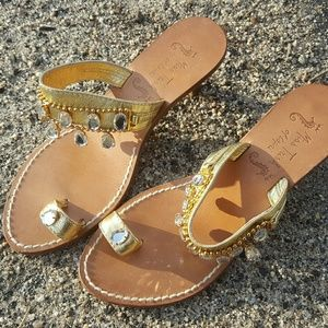 c5c8e8f4a8065f Other Stories Shoes - Miss Trish of Capri Italian Gold Crystal Sandal